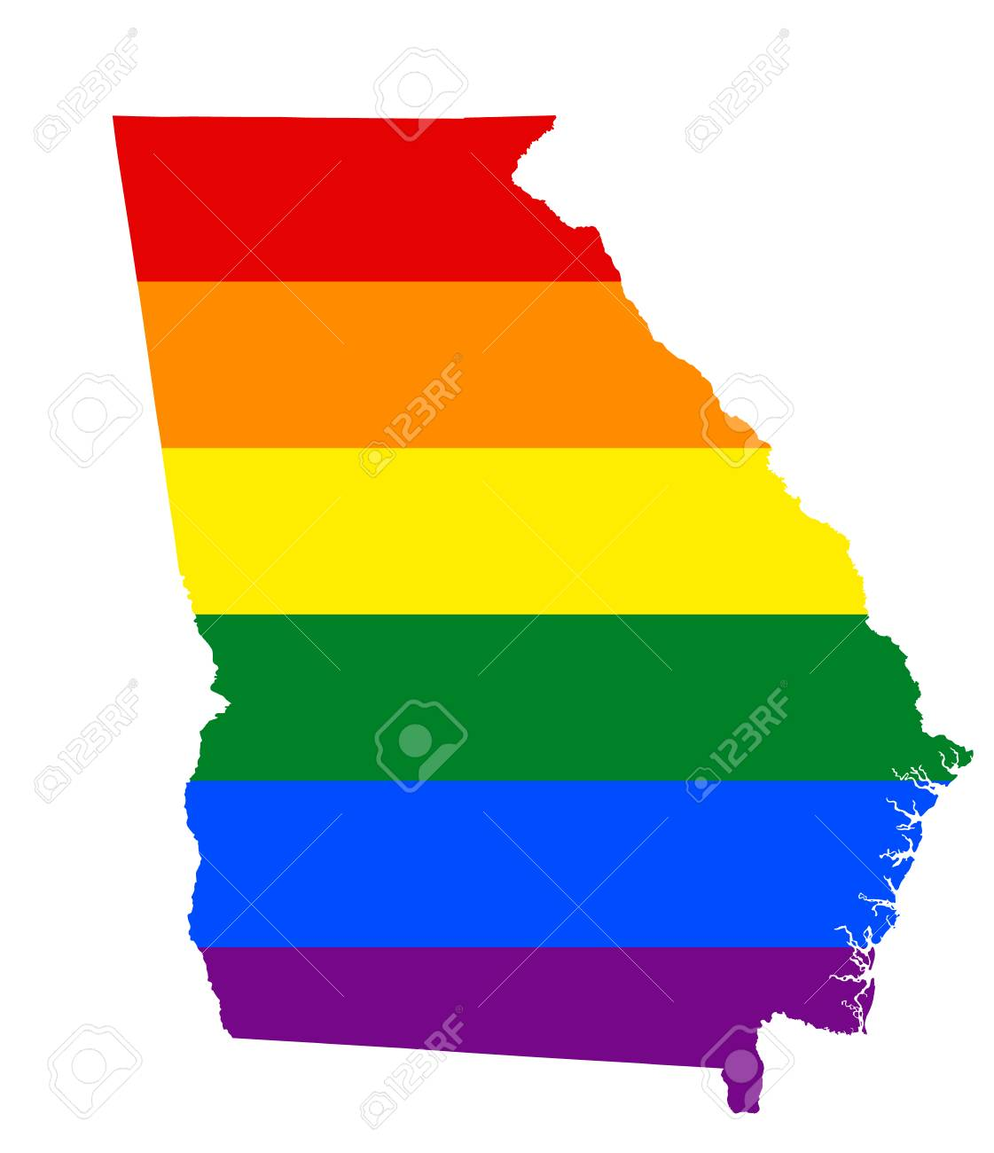 LGBT Flag Map Of Georgia State. Vector Rainbow Map Of Georgia State ...