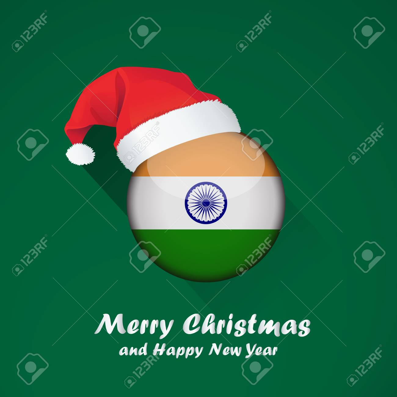 flag of india merry christmas and happy new year background design with glossy round flag