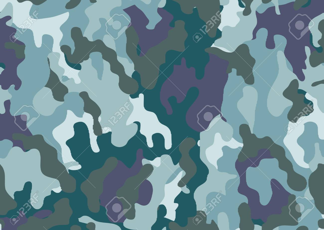 Abstract military or hunting camouflage background. Woodland camo texture vector. Blue tone stlye. - 111621875