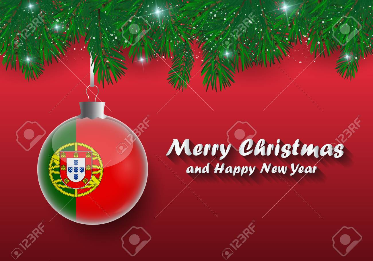 Christmas In Portugal.Vector Border Of Christmas Tree Branches And Ball With Portugal