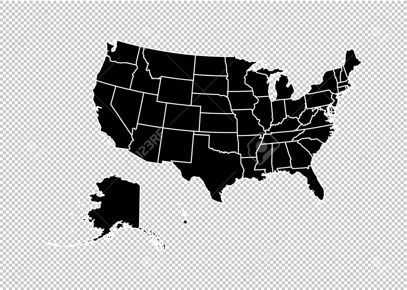 usa map - High detailed Black map with counties/regions/states..