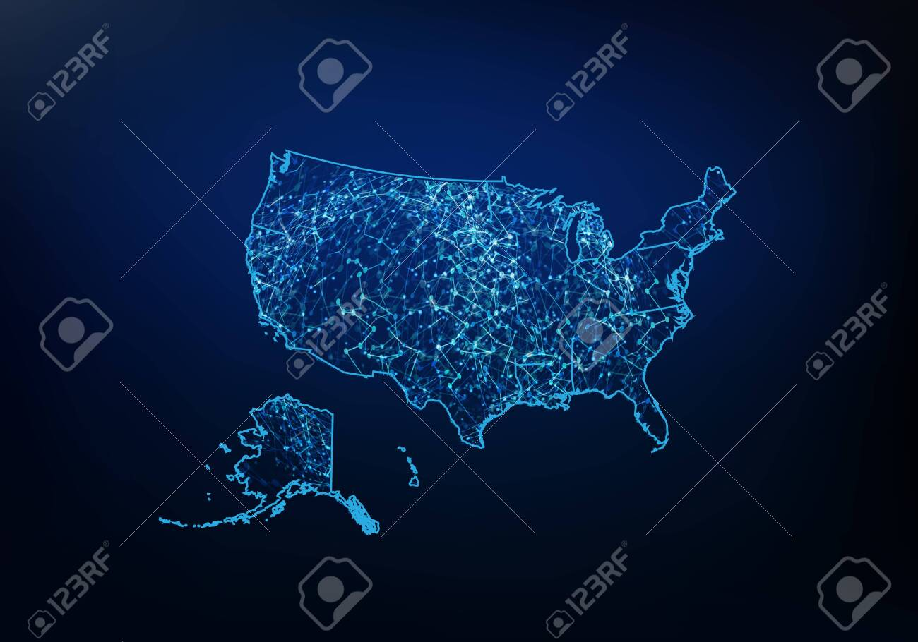 Abstract of usa map network, internet and global connection concept,..