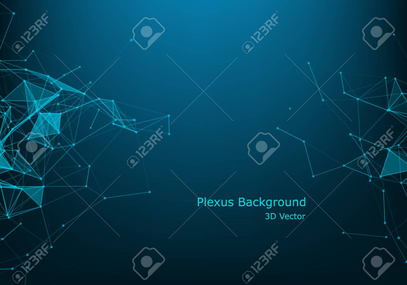 Abstract technology background. Science background. Big data. Background vector. Plexus effect. Network connection structure. Vector illustration. - 124039576