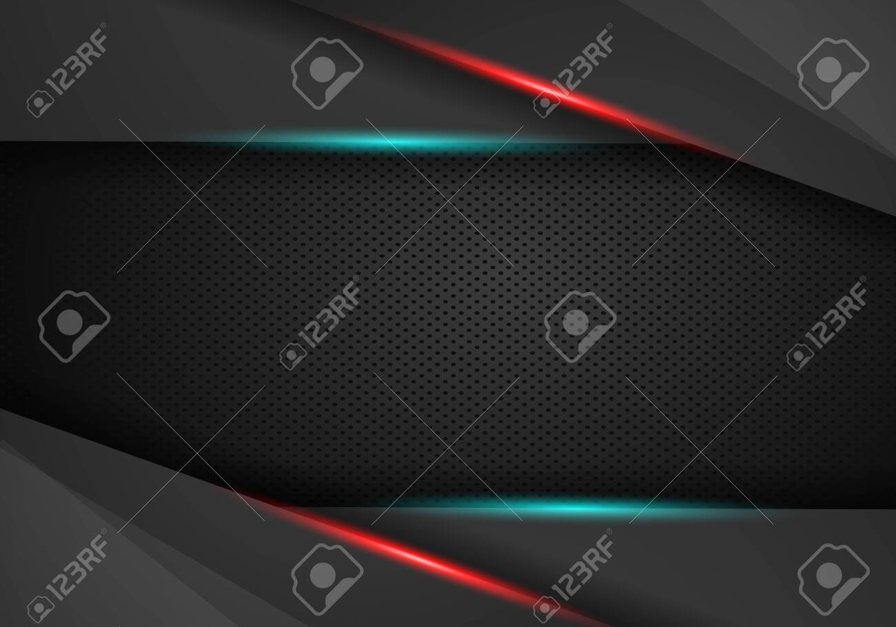 abstract metallic red black frame layout design tech innovation concept background. Vector graphic template design. Technology background with metallic banner. - 129618439