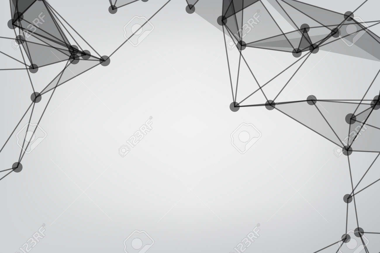 abstract low poly lines mesh white. Background Technology connecting dots and line. - 157884360
