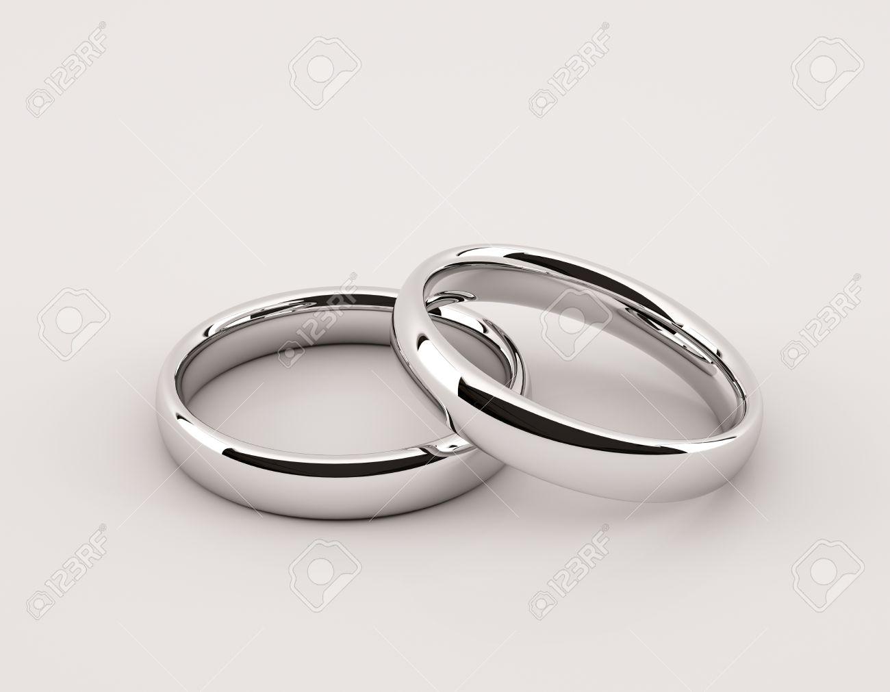 Zwei Silberne Ringe Fur Die Hochzeit Oder Verlobung Auf Dem Grauen