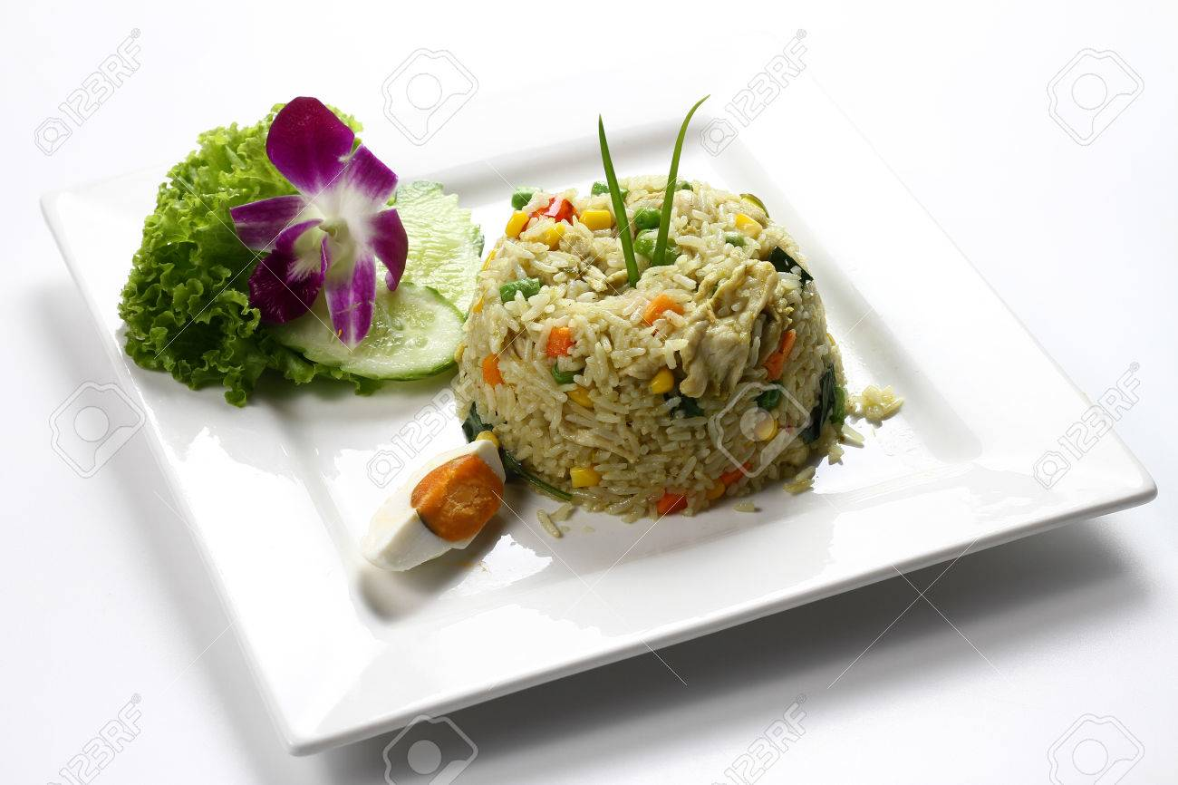 Green Curry Chicken Meat Fried Rice With Boiled Salted Egg On