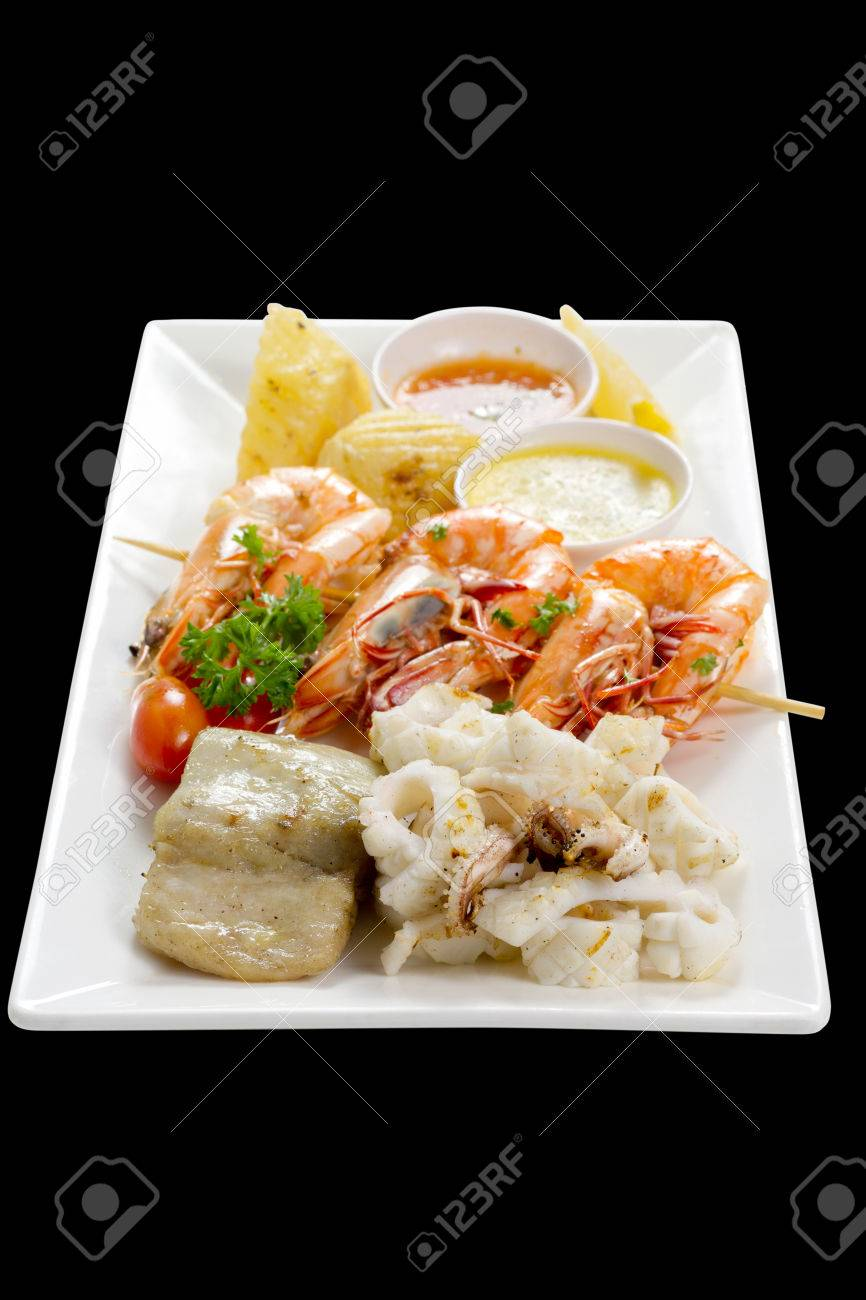 Mixed Grilled Seafood Platter Set Contain Roasted Big Prawns Stock Photo Picture And Royalty Free Image Image 84570159