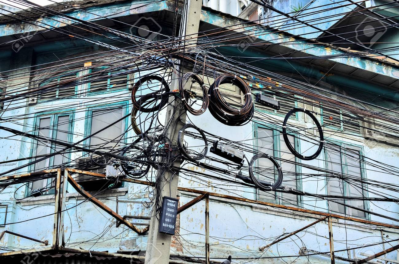 Tangle Of Electrical Wires Bangkok Thailand Stock Photo, Picture And ...