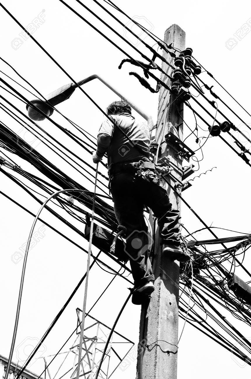 Black And White In Silhouette Photo Effect. Electricians Repairing ...