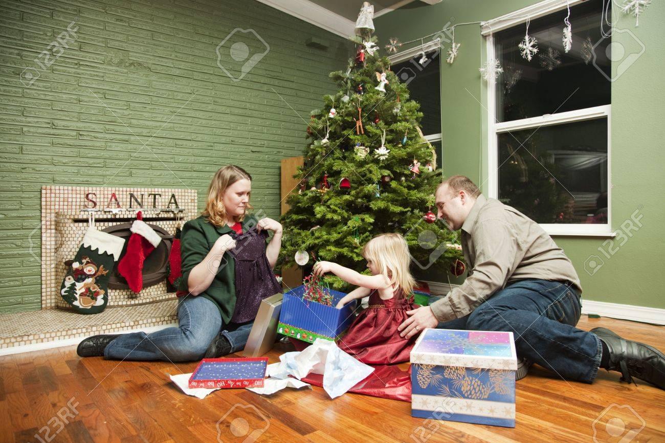 Family of three on Christmas morning Stock Photo - 4015795