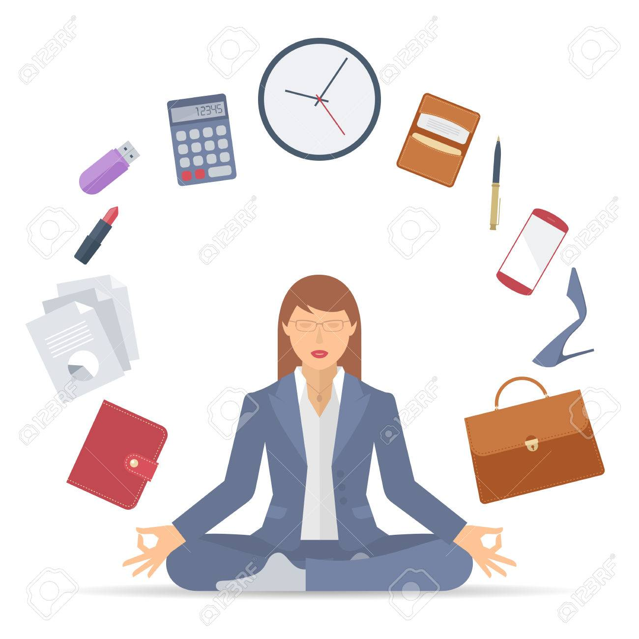 1e701f24f3754 Flat vector business concept illustration of businesswoman meditation.  Woman meditates at work in the lotus