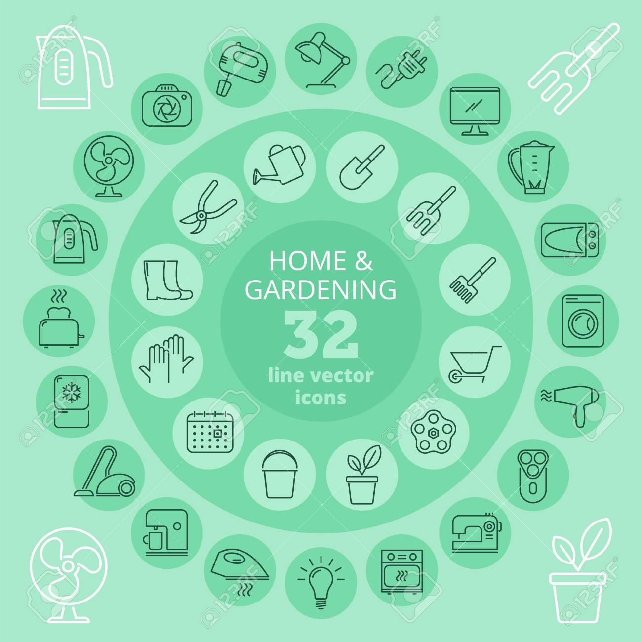 Appareil ménagé et jeu d\'icônes de jardinage. Équipement de cuisine,  appareils électroménagers et outils de jardin icônes de lignes  vectorielles. Des ...