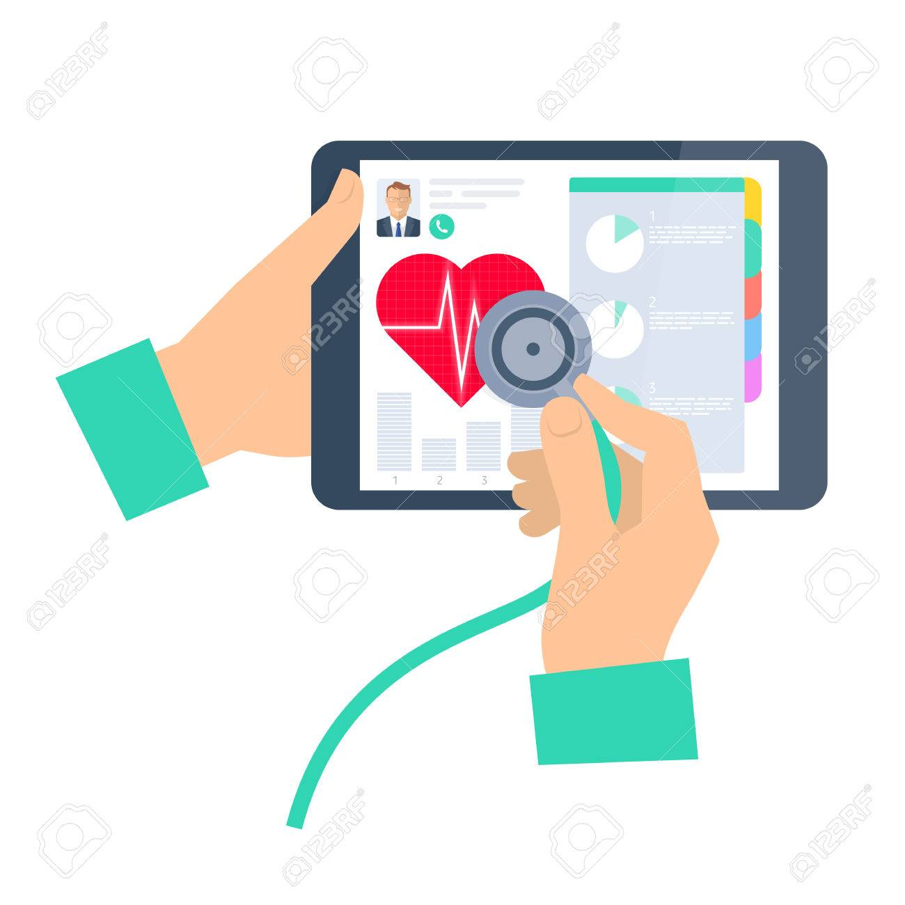 doctor using a stethoscope on a tablet computer telemedicinedoctor using a stethoscope on a tablet computer telemedicine and telehealth flat vector concept illustration
