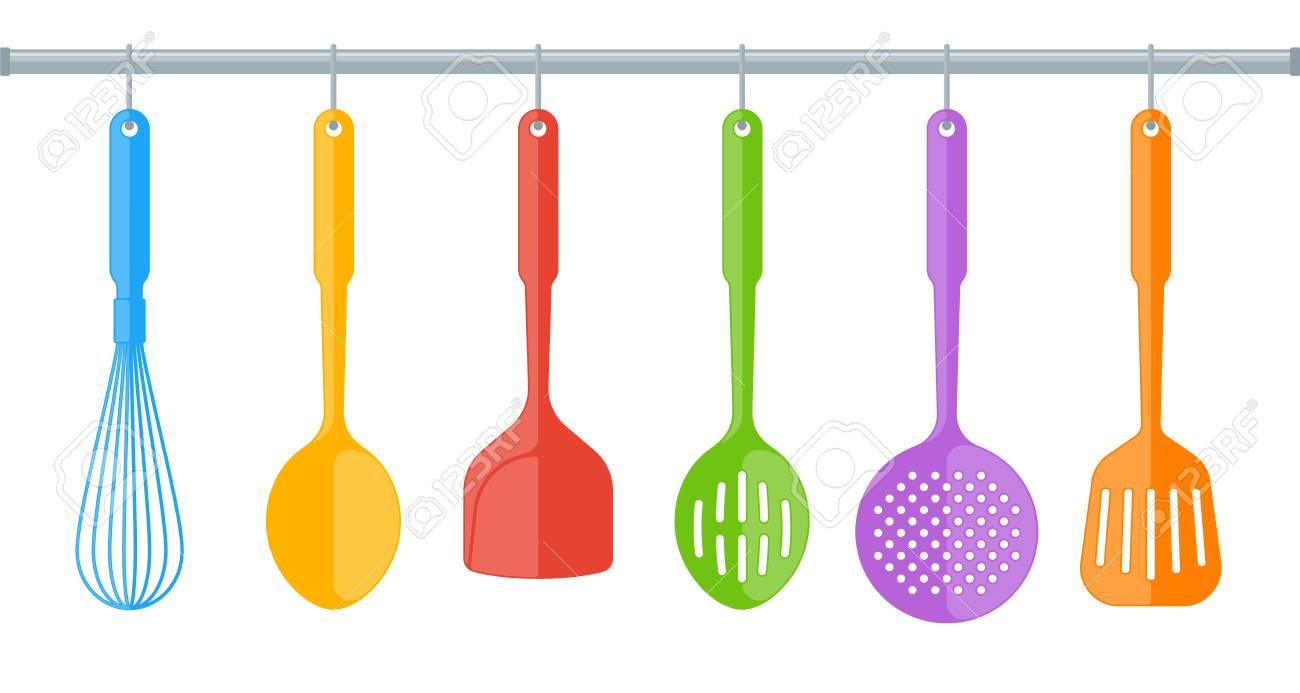 Exceptionnel Colorful Plastic Kitchen Utensils Isolated On White Background. Flat  Illustration Of Cooking Tools. Vector