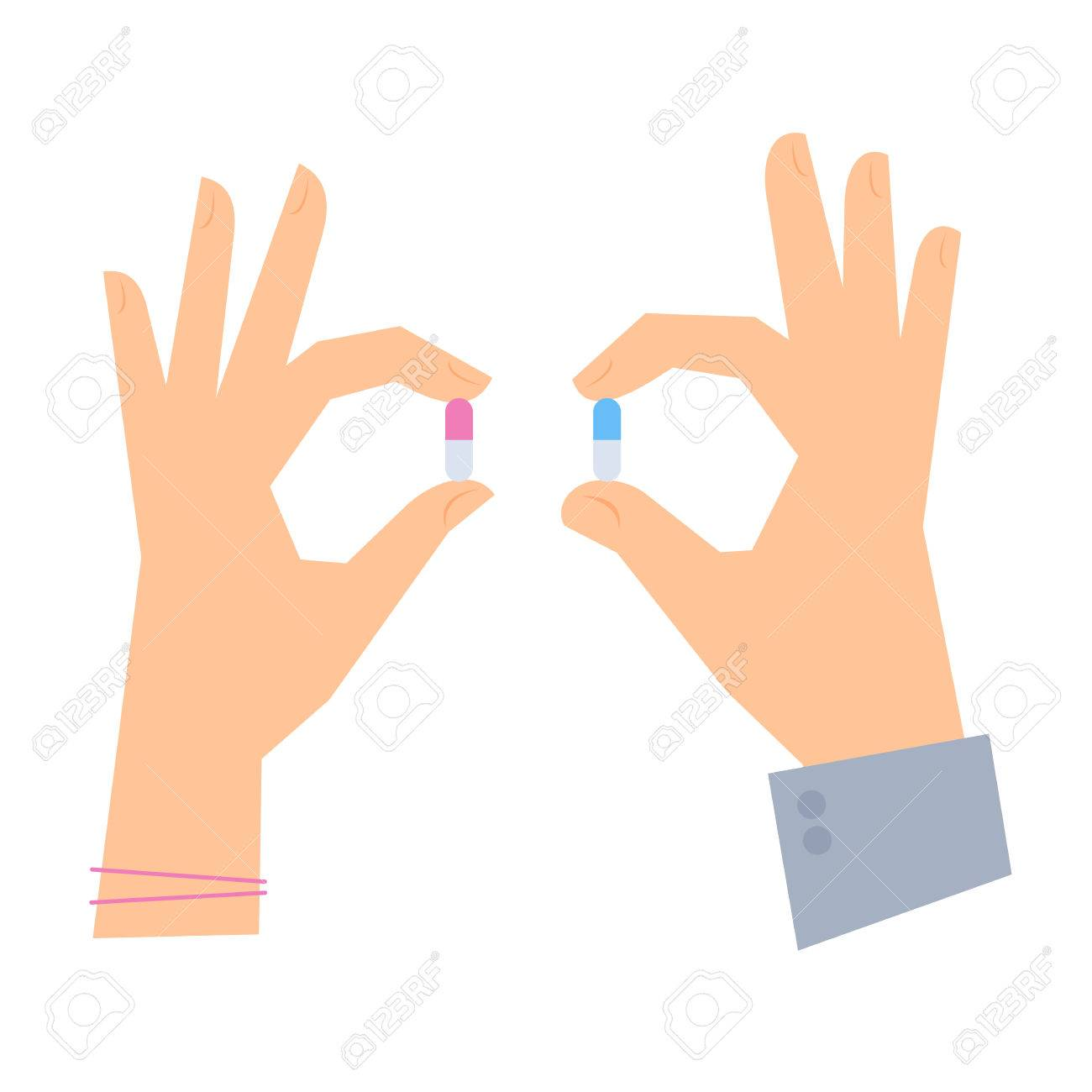 Male hand and female hand are holding color pills medicine and male hand and female hand are holding color pills medicine and healthcare flat concept illustration buycottarizona Images