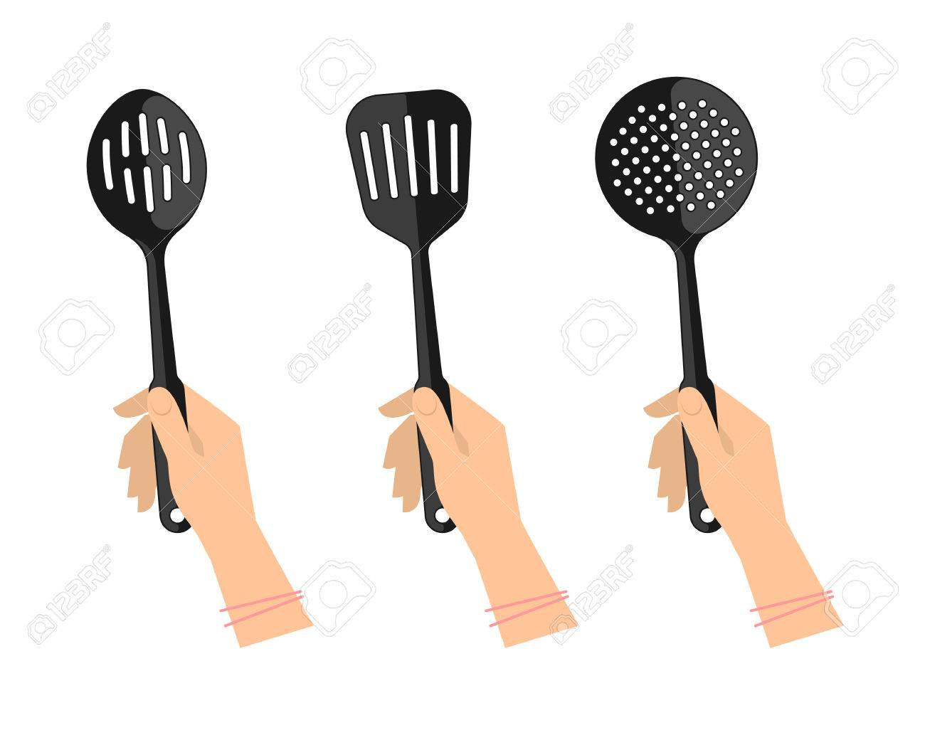 Female Hands With Kitchen Utensils: Slotted Spoon, Spatula And Skimmer.  Flat Illustration Of