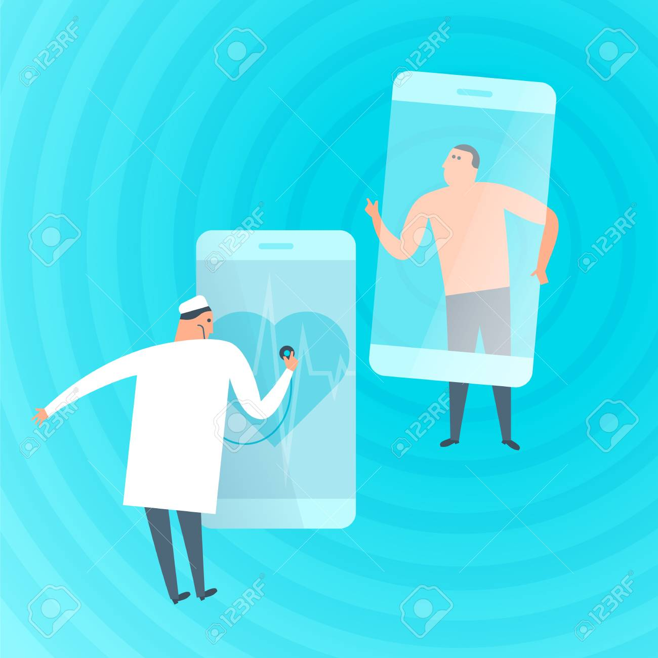 Doctor exams patient's heartbeat by phone. Online, tele medicine flat concept illustration. Medic with stethoscope listens heart at smartphone screen. Telemedicine, telehealth vector design element. - 101817719