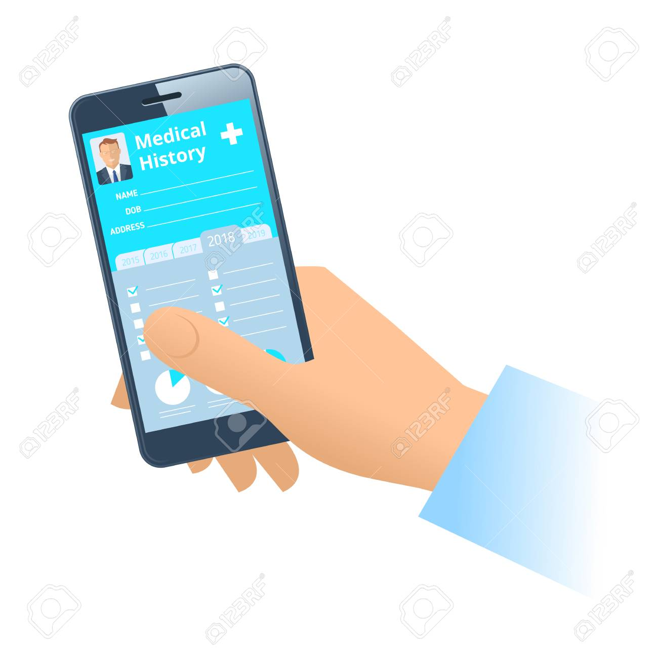 Human hand holds smart phone with patient health medical history