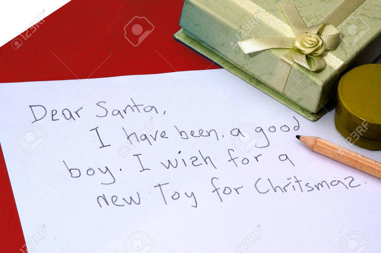 A Dear Santa Letter Written By A Child For Christmas Stock Photo