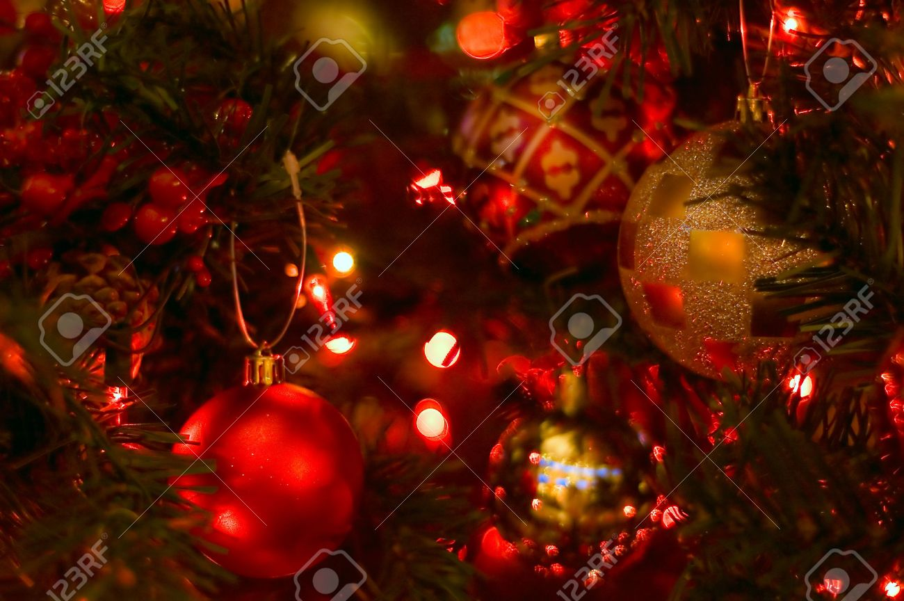 Gold and red ornaments - Red And Gold Christmas Ball Ornaments On A Tree Stock Photo 282658