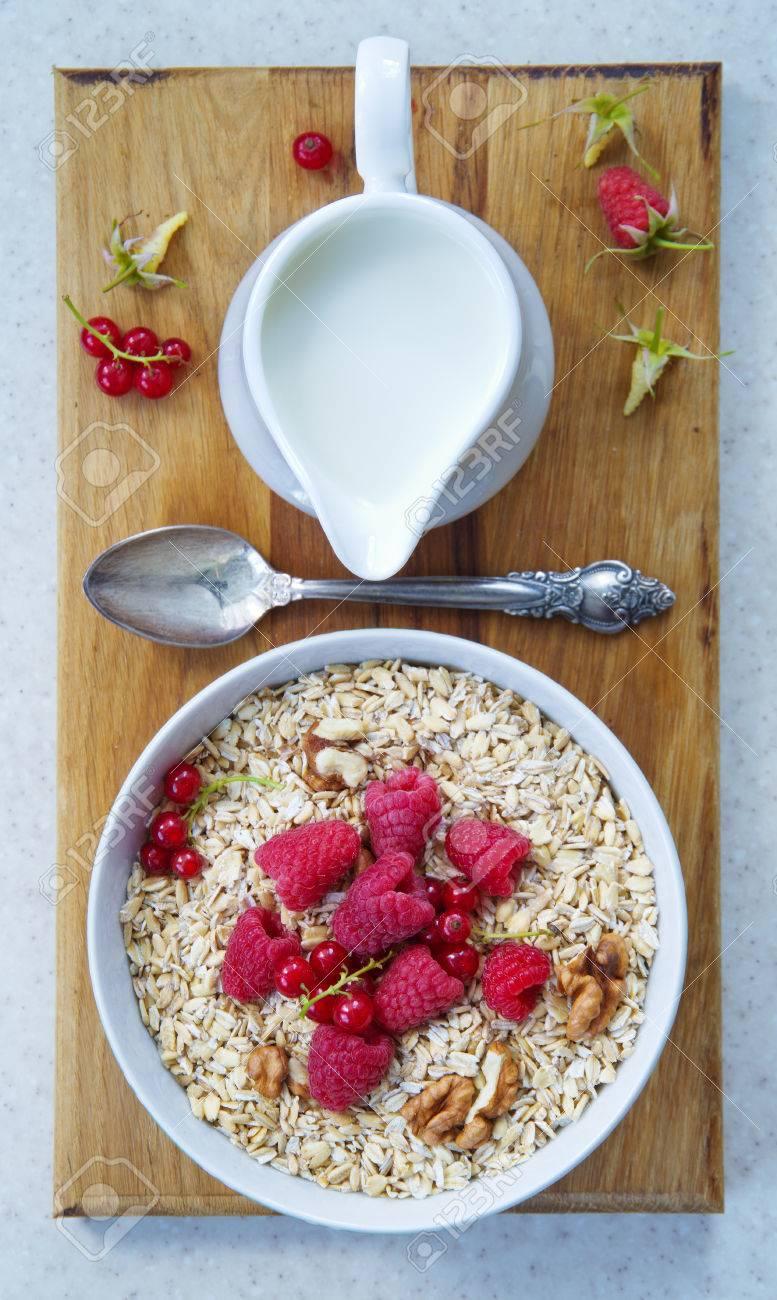 Gesundes Frühstück Haferflocken Joghurt Frisches Obst