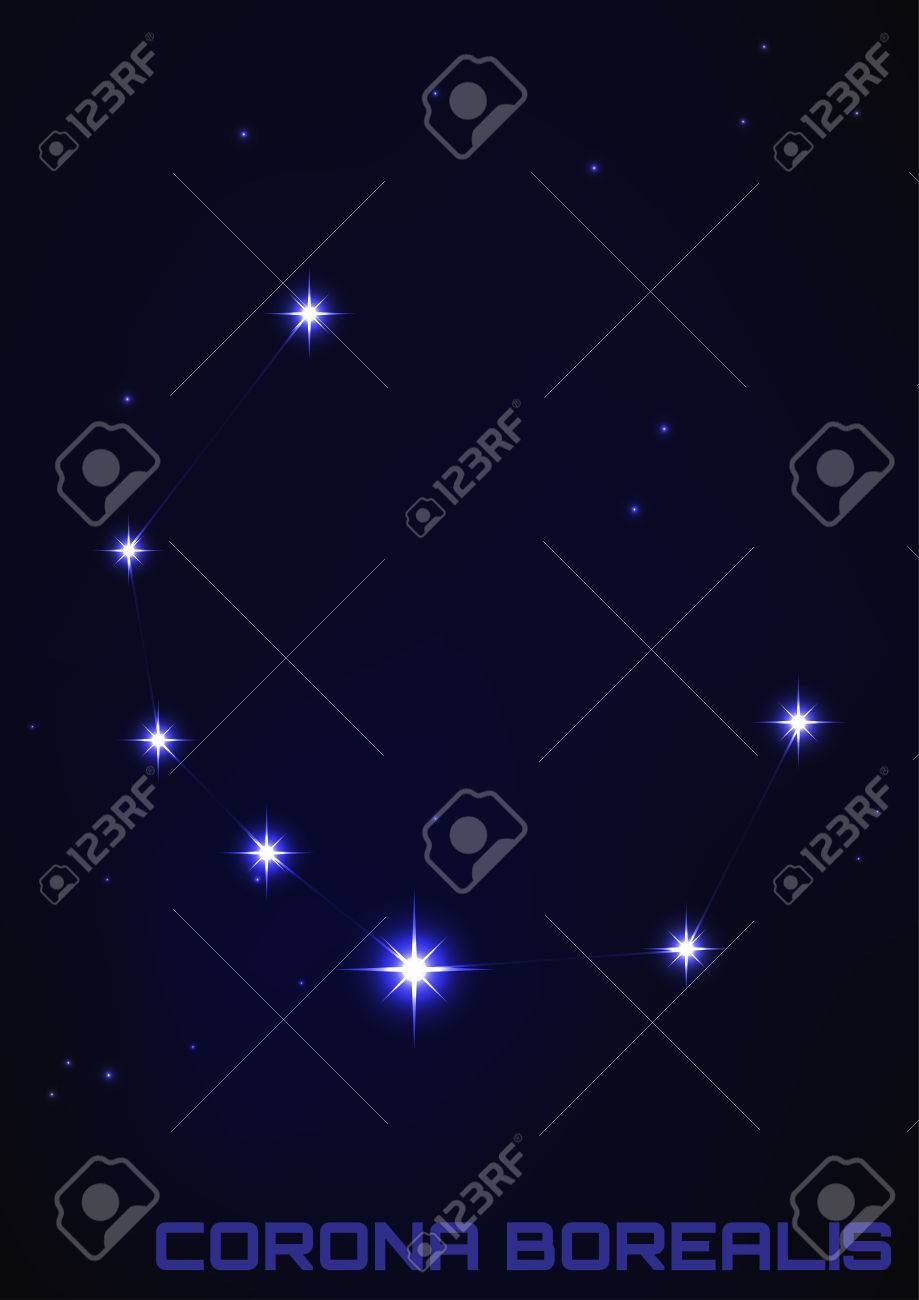 Vector Illustration Of Corona Borealis Constellation In Blue Royalty Free Cliparts Vectors And Stock Illustration Image 34129623