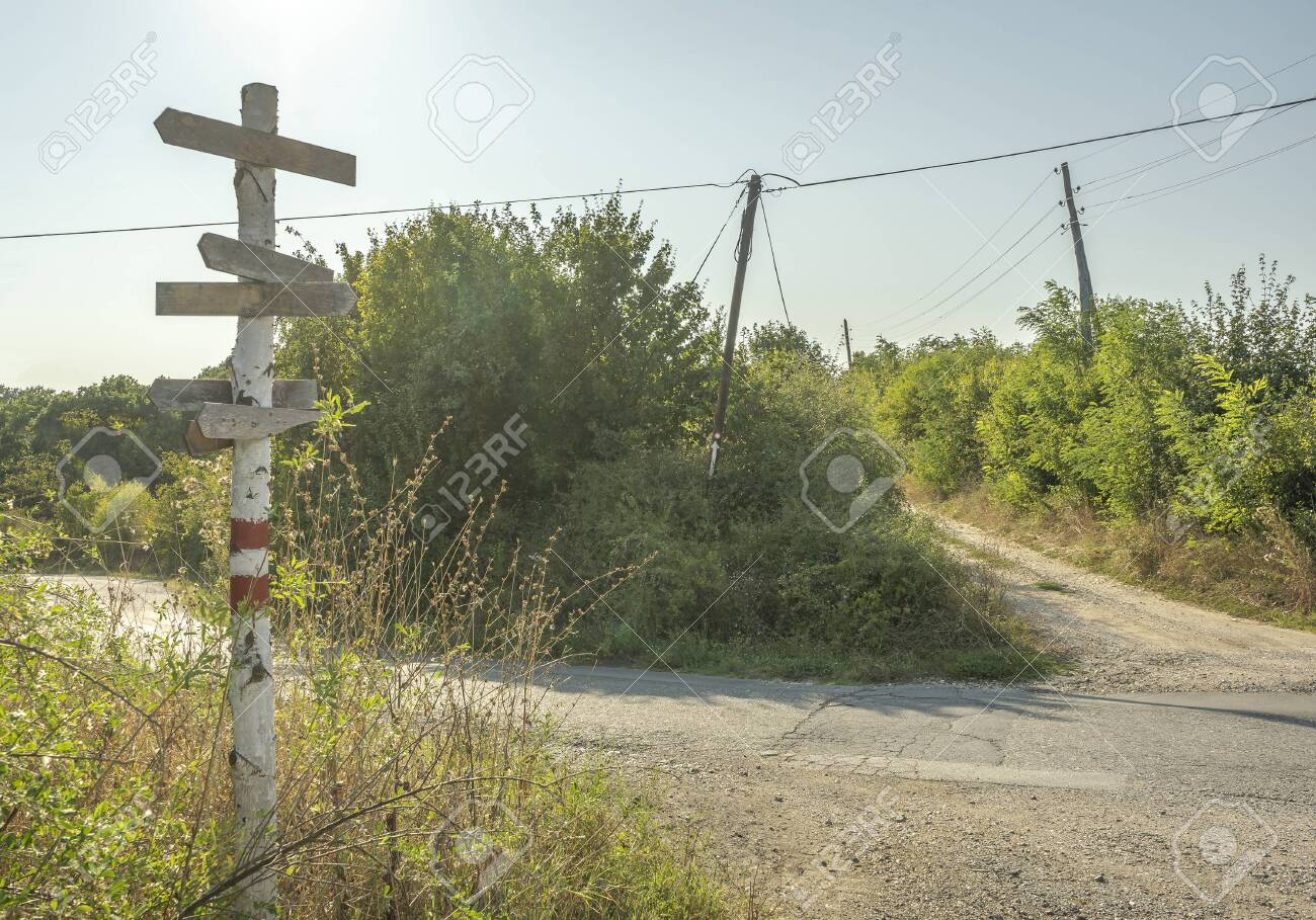 An old wooden signpost overgrown in a plant next to a road at an intersection - 130735421