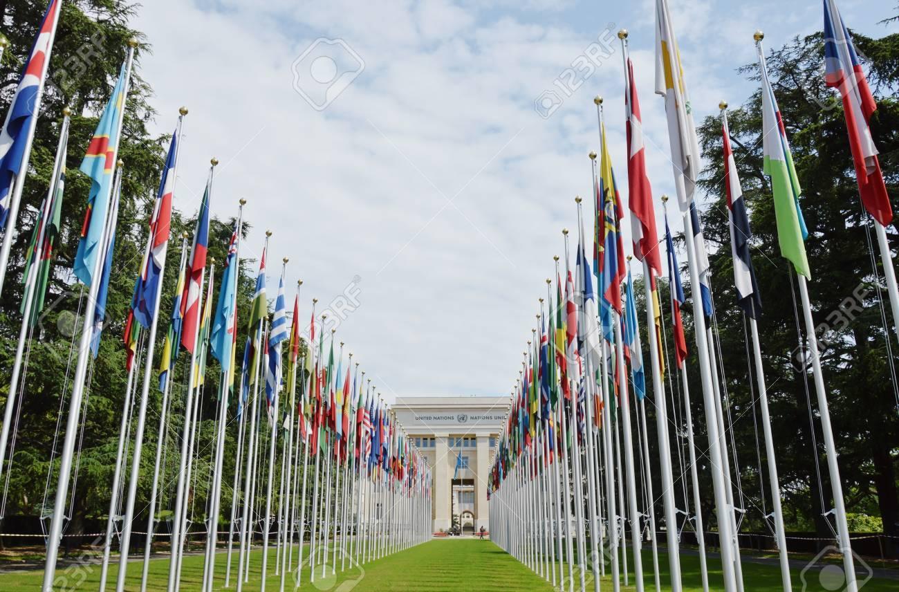 Genève suisse juin devant le bureau des nations unies à