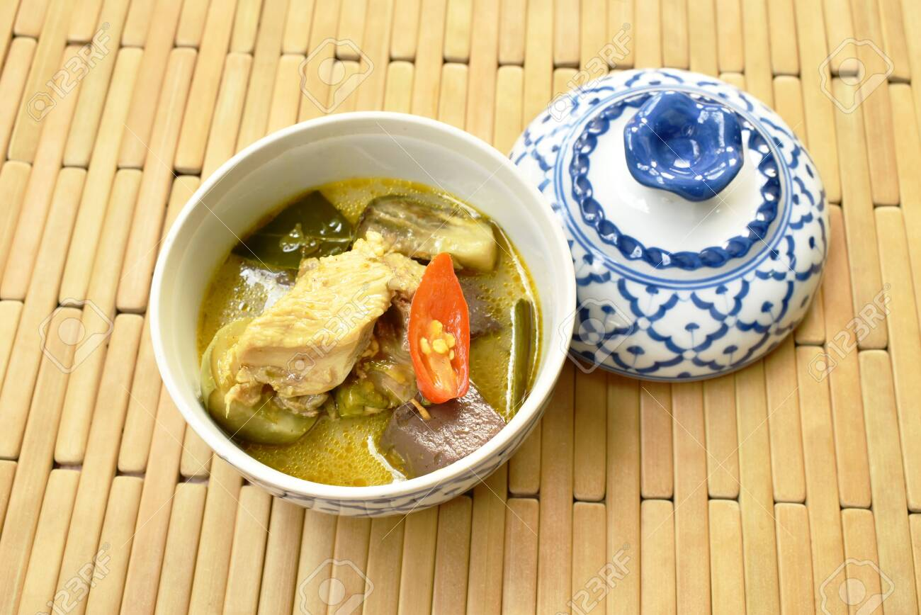 Boiled Chicken With Eggplant In Green Curry On Bowl
