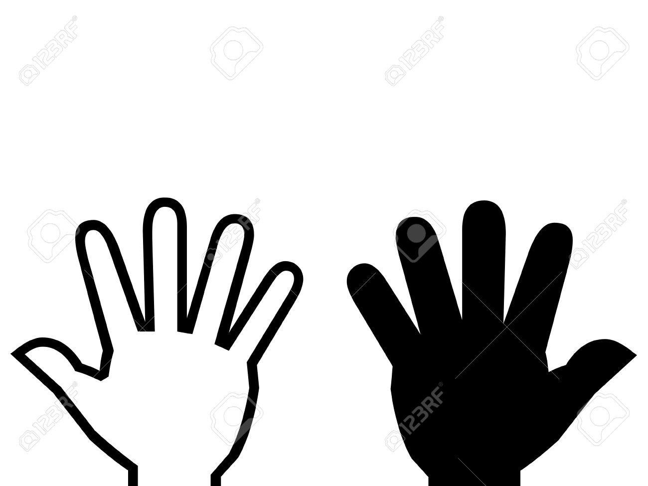 White hand, black hand illustration. Stock Illustration - 12933523