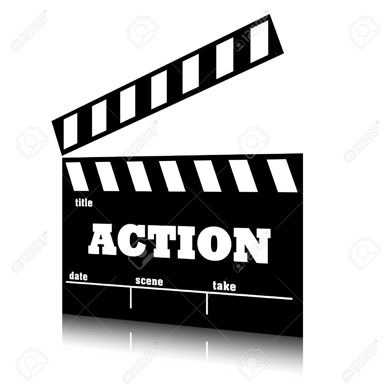 Clap film of cinema action genre, clapperboard text illustration. Stock  Illustration - 16084899