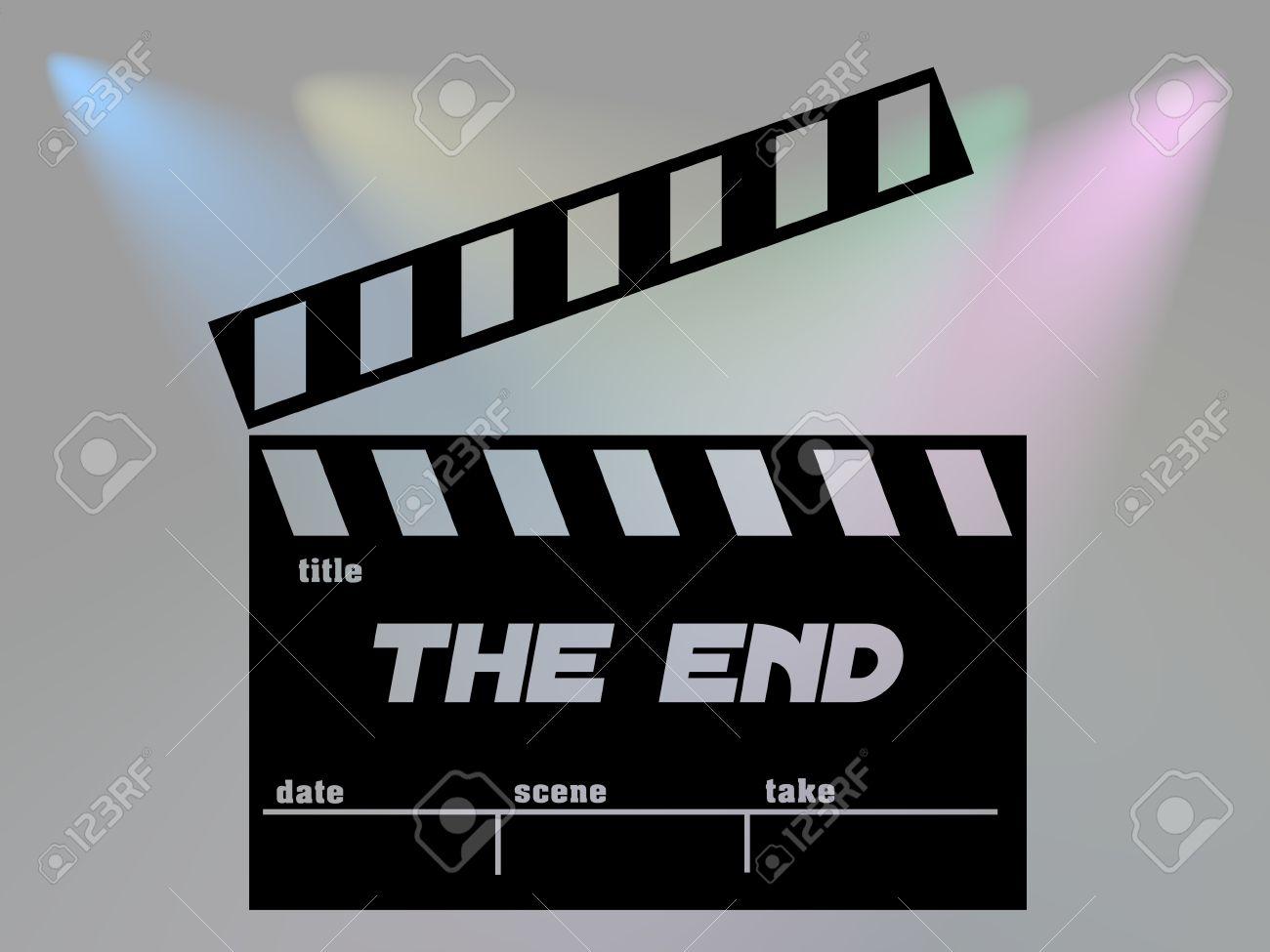 拍手を映画の最後にカチンコ本文イラストのフィルム の写真素材