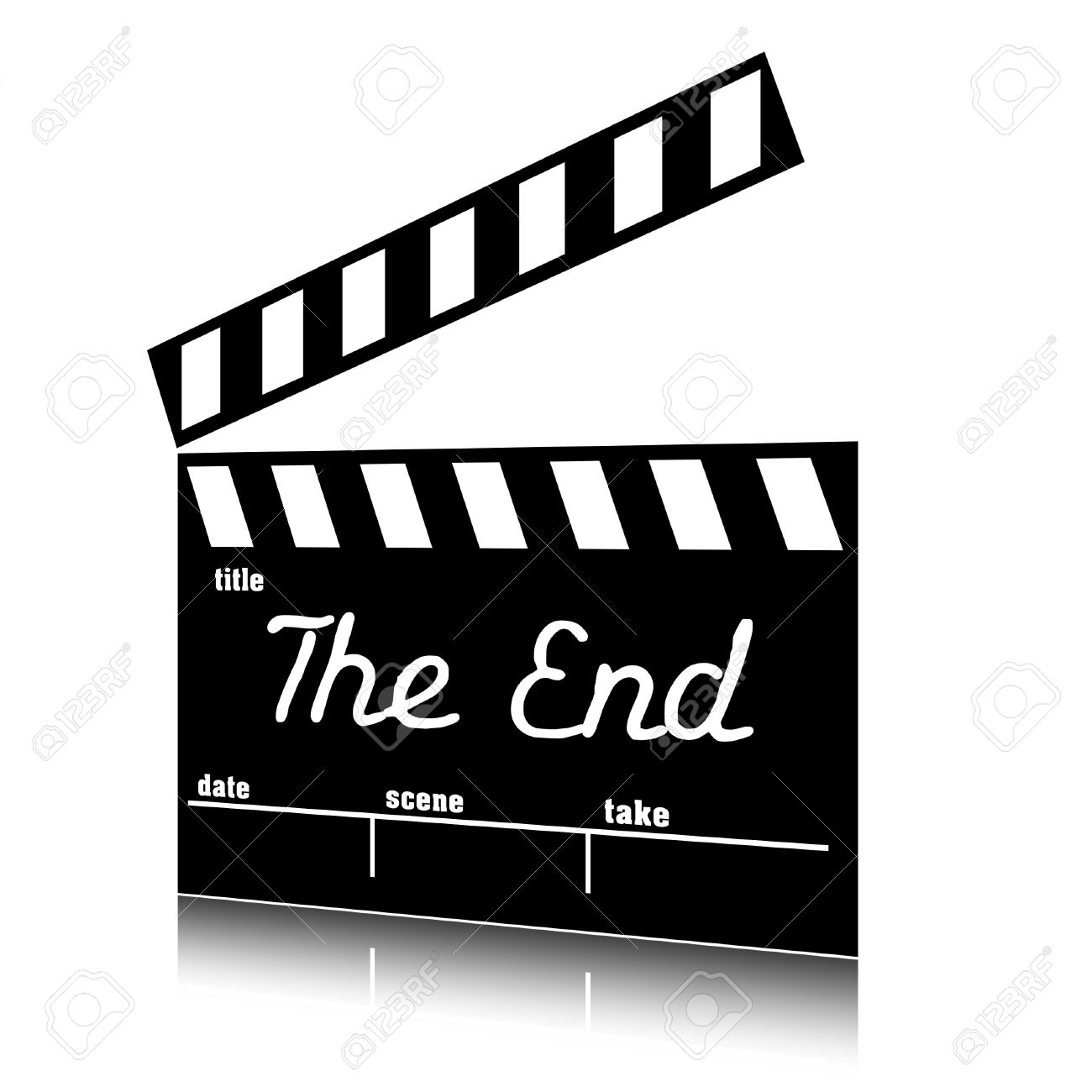 clap film of cinema the end clapperboard text clip art stock photo rh 123rf com free clipart the end the end clipart