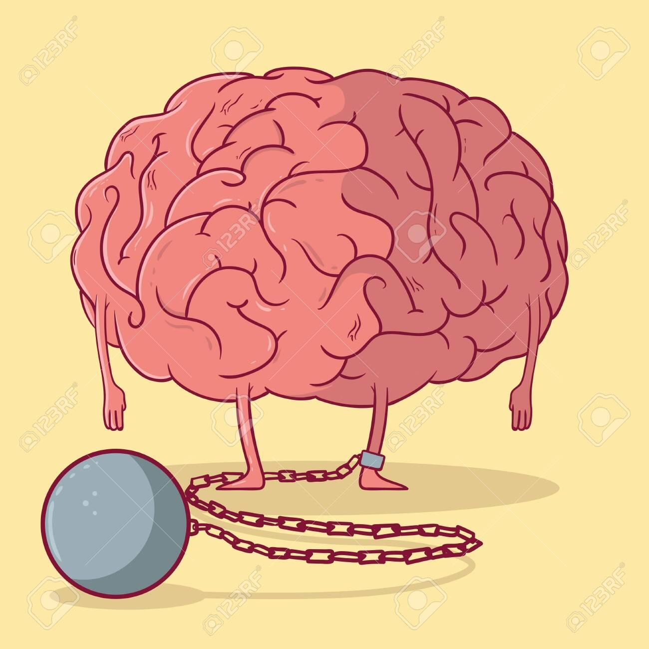 Brain stuck to a ball chain vector illustration. Mind, Brain, imagination design concept - 136757616