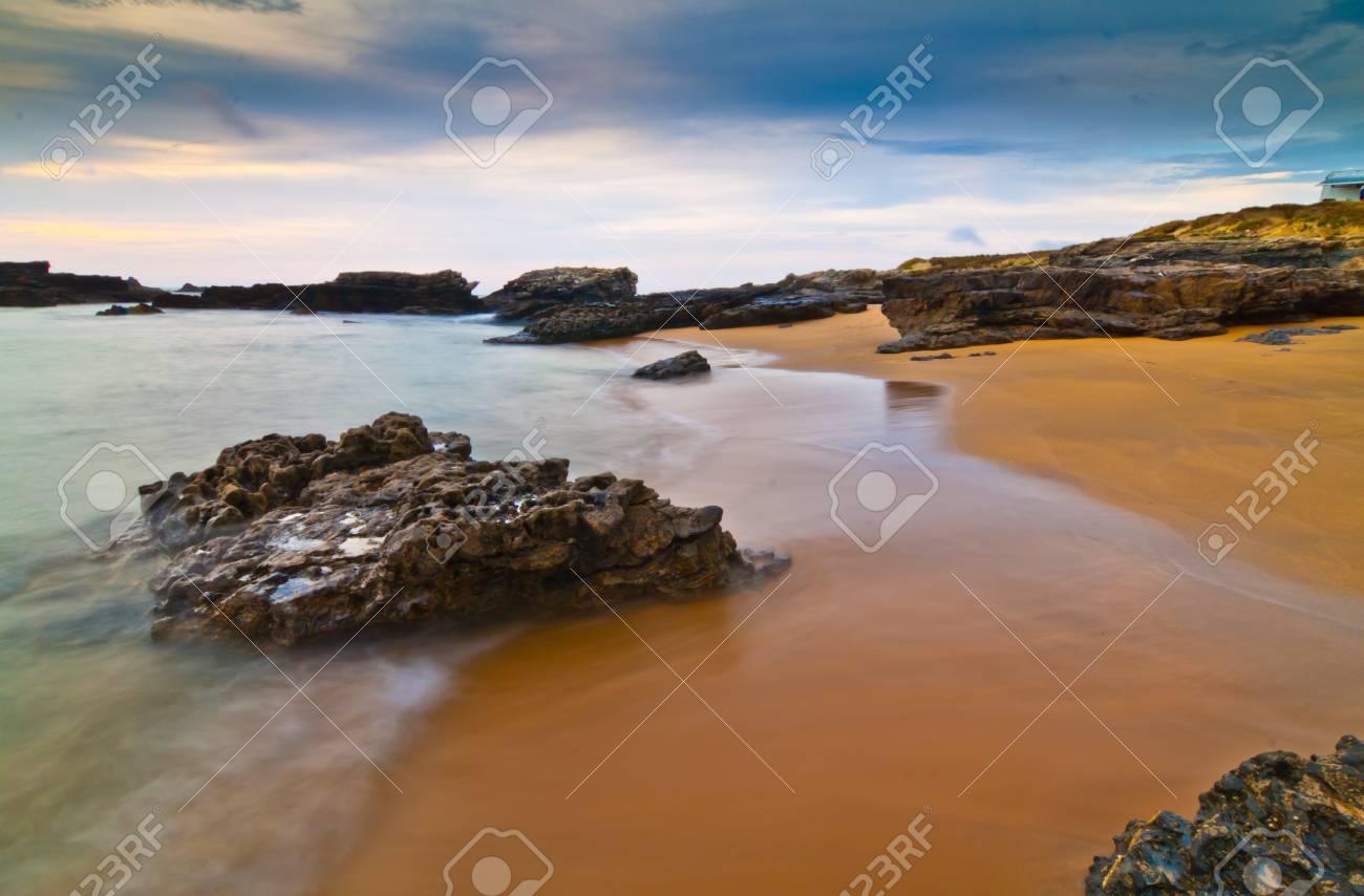 Plages asturiennes au coucher du soleil, l'Espagne Banque d'images - 11638504