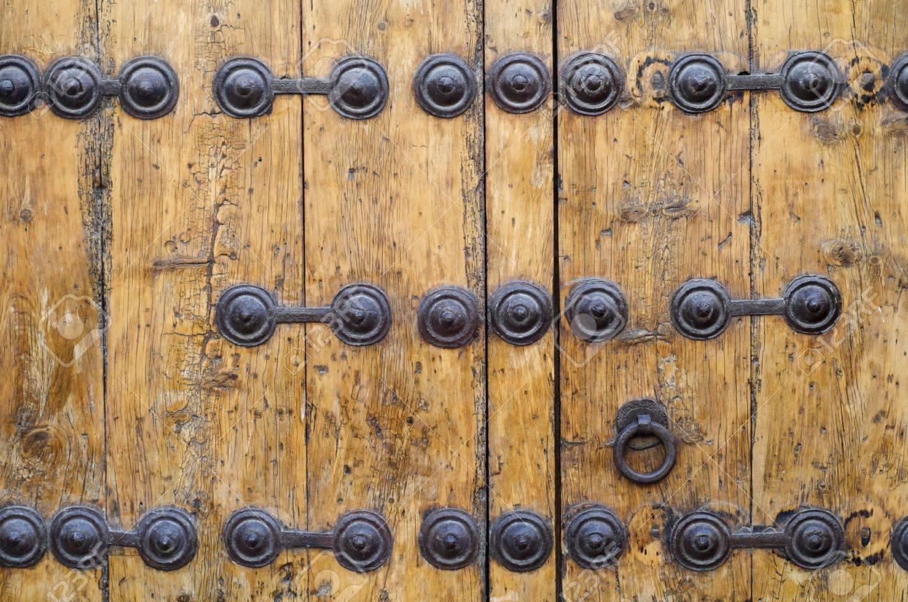 Detail Of An Old Wooden Door Metal Parts In Siguenza, Spain Stock ...