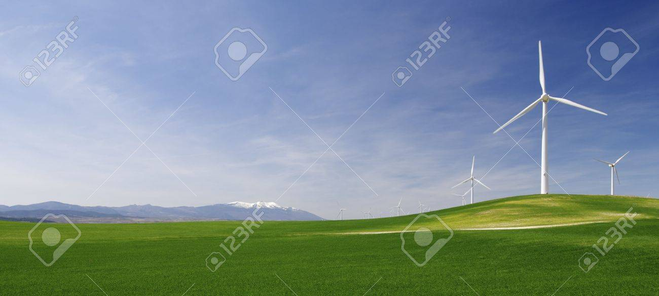group of windmills in an idyllic green meadows Stock Photo - 6778902