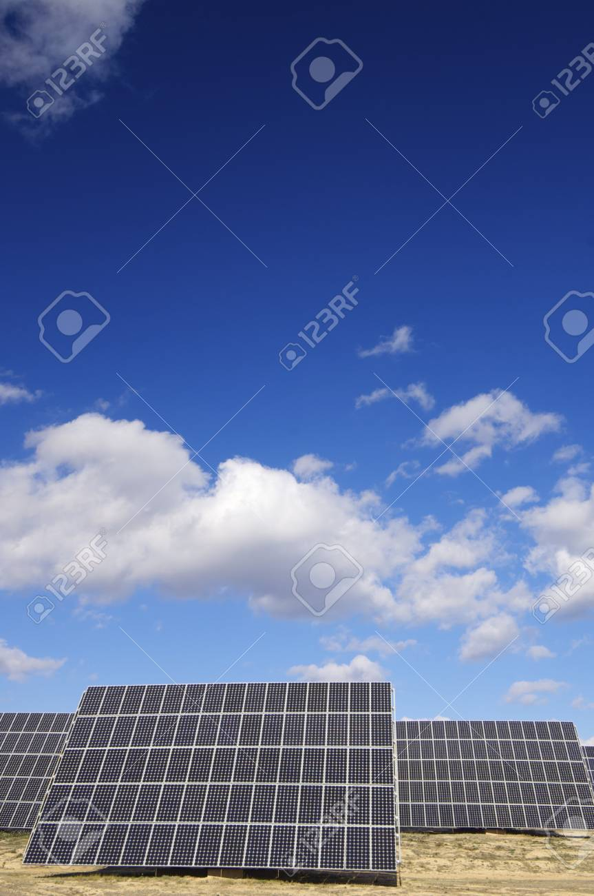 group of solar panels for production of renewable electrical energy in Saragossa province, Aragon, Spain Stock Photo - 9266998