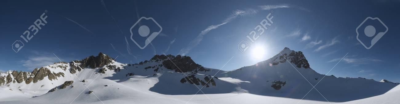 panoramic view at backlight of Bacias peak, Panticosa, Pyrenees, Huesca, Aragon, Spain Stock Photo - 9267004