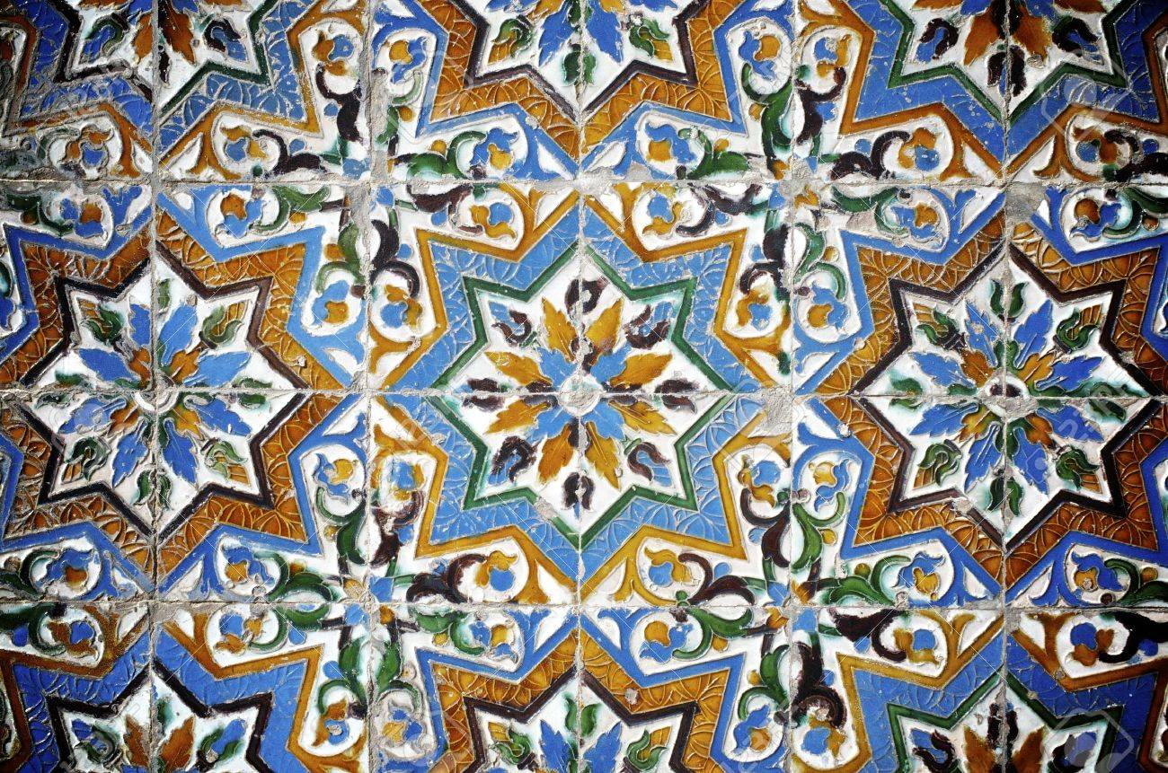 Closeup Of A Ceramic Tile In Pilate\'s Palace, Seville, Andalucia ...