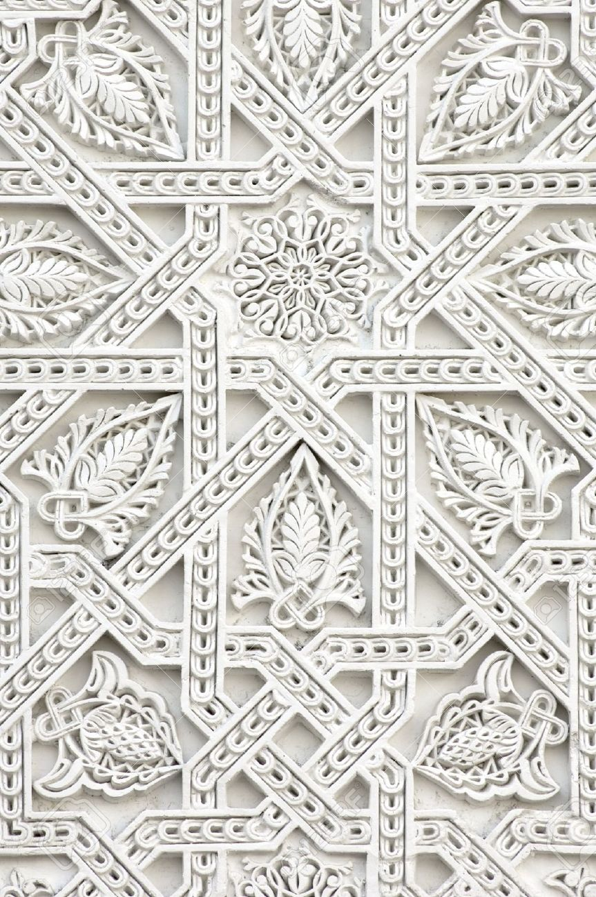 closeup of a wall of white plaster Arabic - 12882801