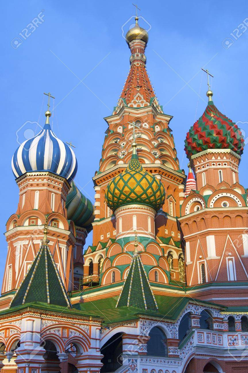 View of the  Orthodox Cathedral of St. Basil in Red Square in Moscow, Russia Stock Photo - 13504183