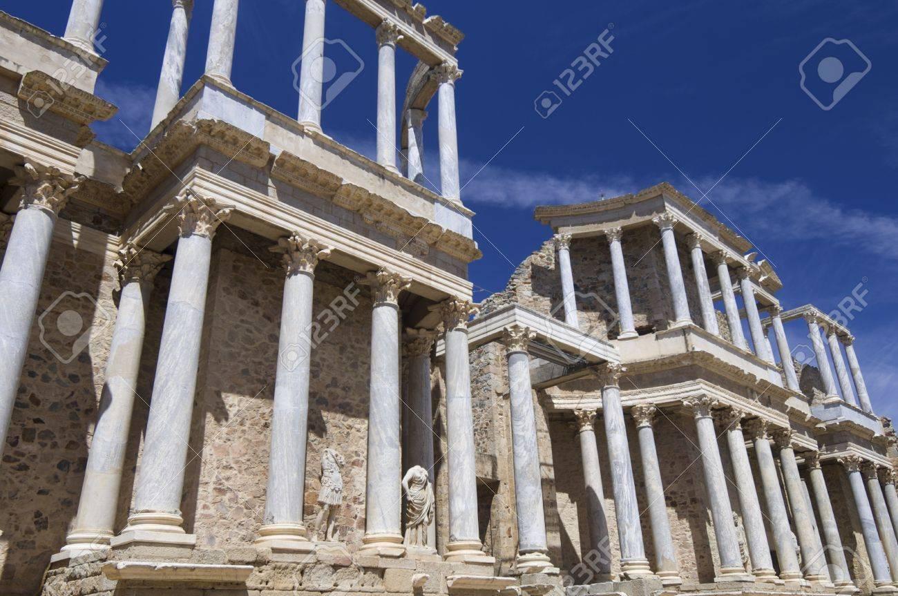 Roman theater in Merida, the theater, today, is used for theatrical performances, Merida, Badajoz, Extremadura, Spain Stock Photo - 13674090