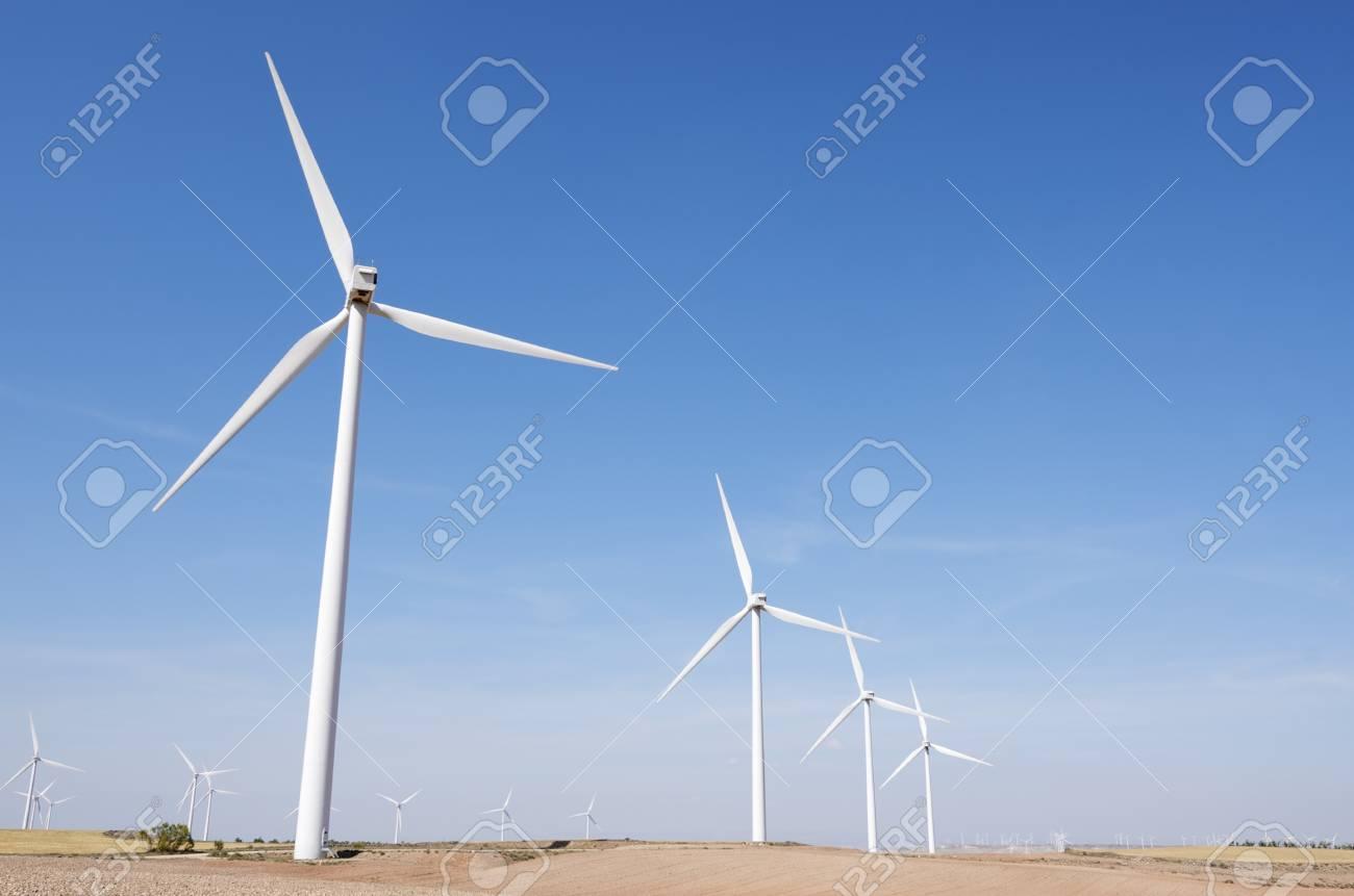 group of windmills for renewable electric energy production, Fuendejalon, Zaragoza, Aragon, Spain Stock Photo - 15399255