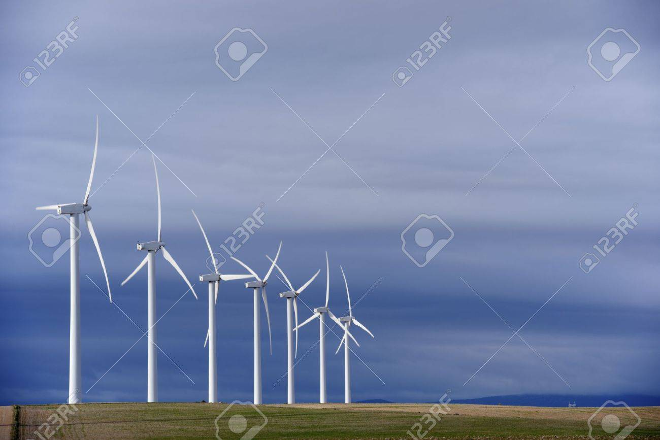 group of windmills for renewable electric energy production - 18676897