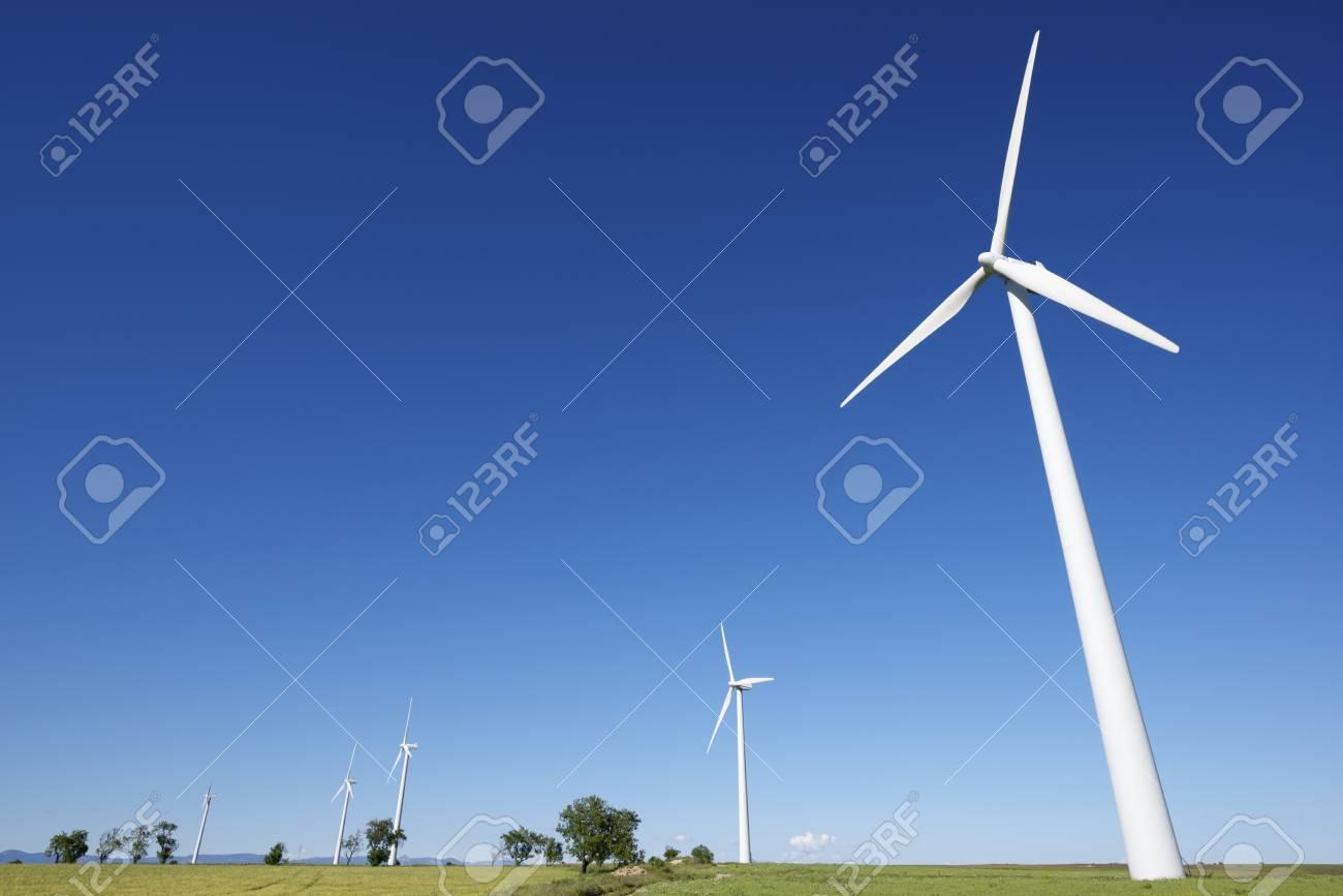 windmills for  electric power production, Gurrea de Gallego, Huesca, Aragon, Spain Stock Photo - 19869153