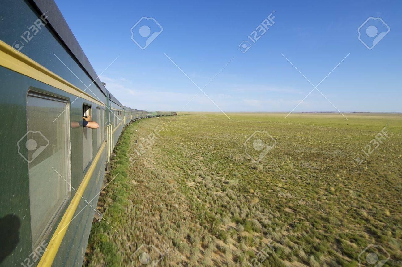 Trans Mongolian Train across the mongolian steppe, Mongolia - 27292518
