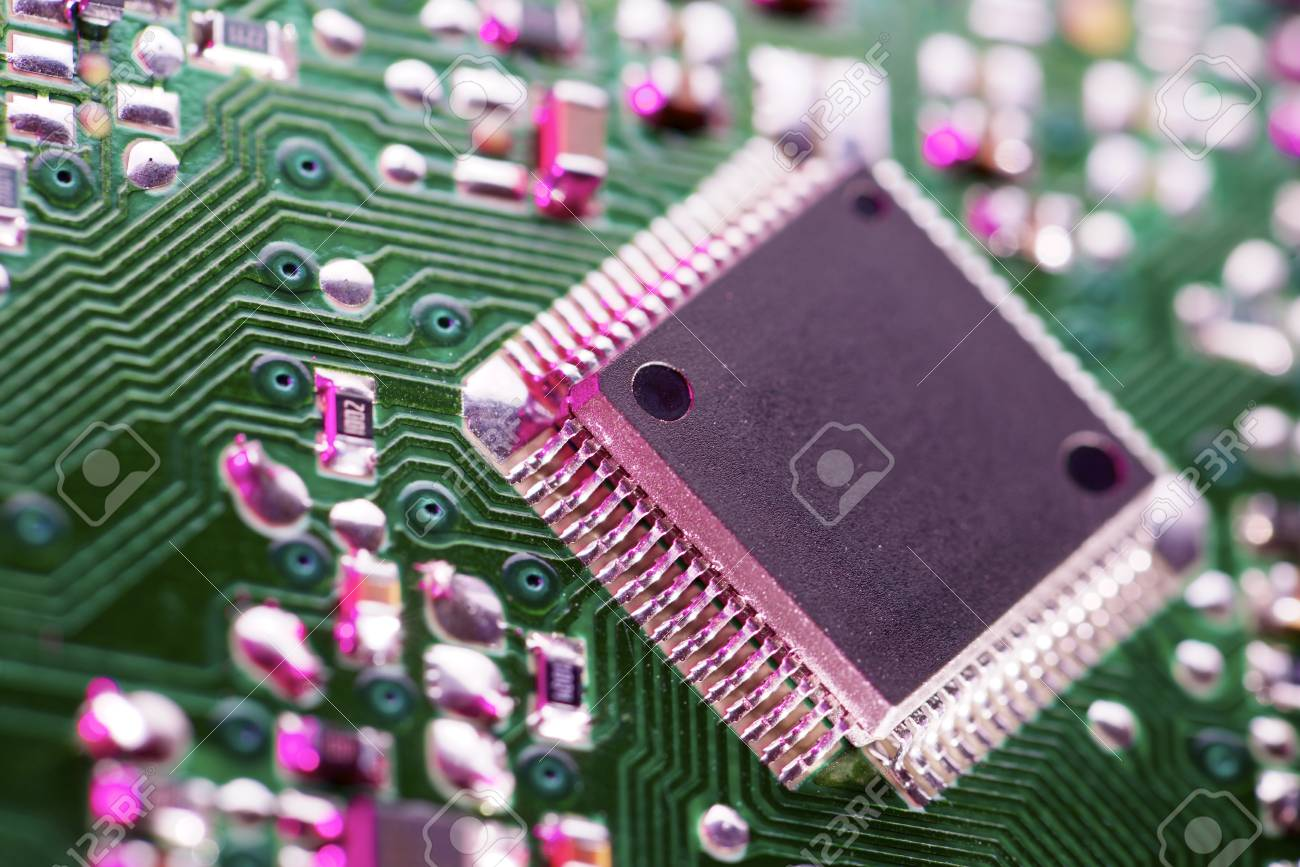 Closeup Of A Chip In An Integrated Circuit Stock Photo Picture And Electronic Royalty Free Image 28970383