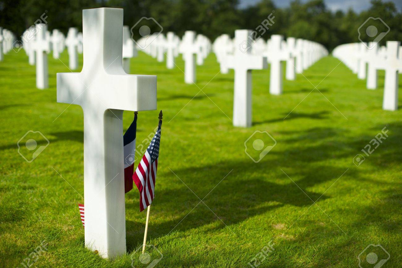 White crosses in American Cemetery, Coleville-sur-Mer, Omaha Beach, Normandy, France. - 37495610